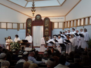 High Holy Day services with our professional and congregant choir.