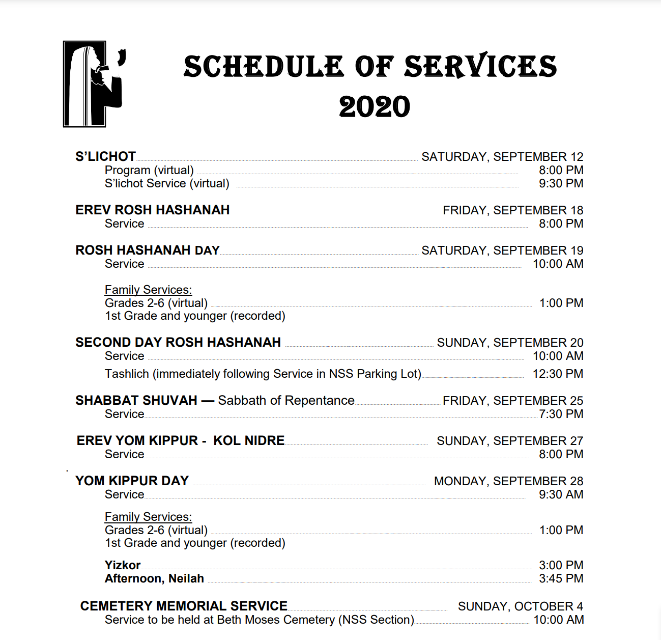 High Holy Day Schedule 2020